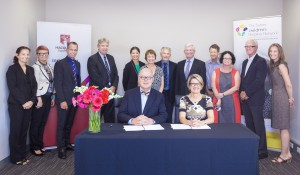 Representatives of the Australian Hearing Hub, Macquarie University and the Sydney Children's Hospitals Network sign a new memorandum of understanding. Photographer: Ronny Ibrahim