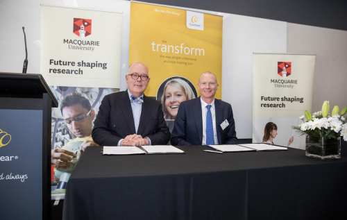 Macquarie's Vice-Chancellor Professor S. Bruce Dowton (left) and Cochlear's President Dig Howitt (right).
