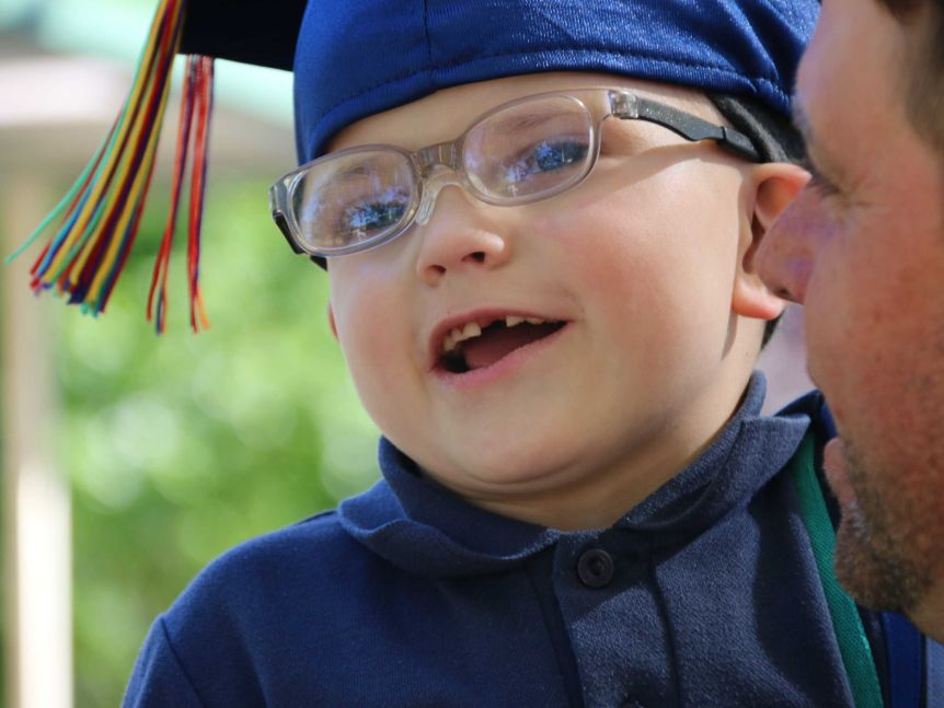 Five-year-old Harry is graduating from his early intervention speech pathology course.(ABC News: Niki Burnside